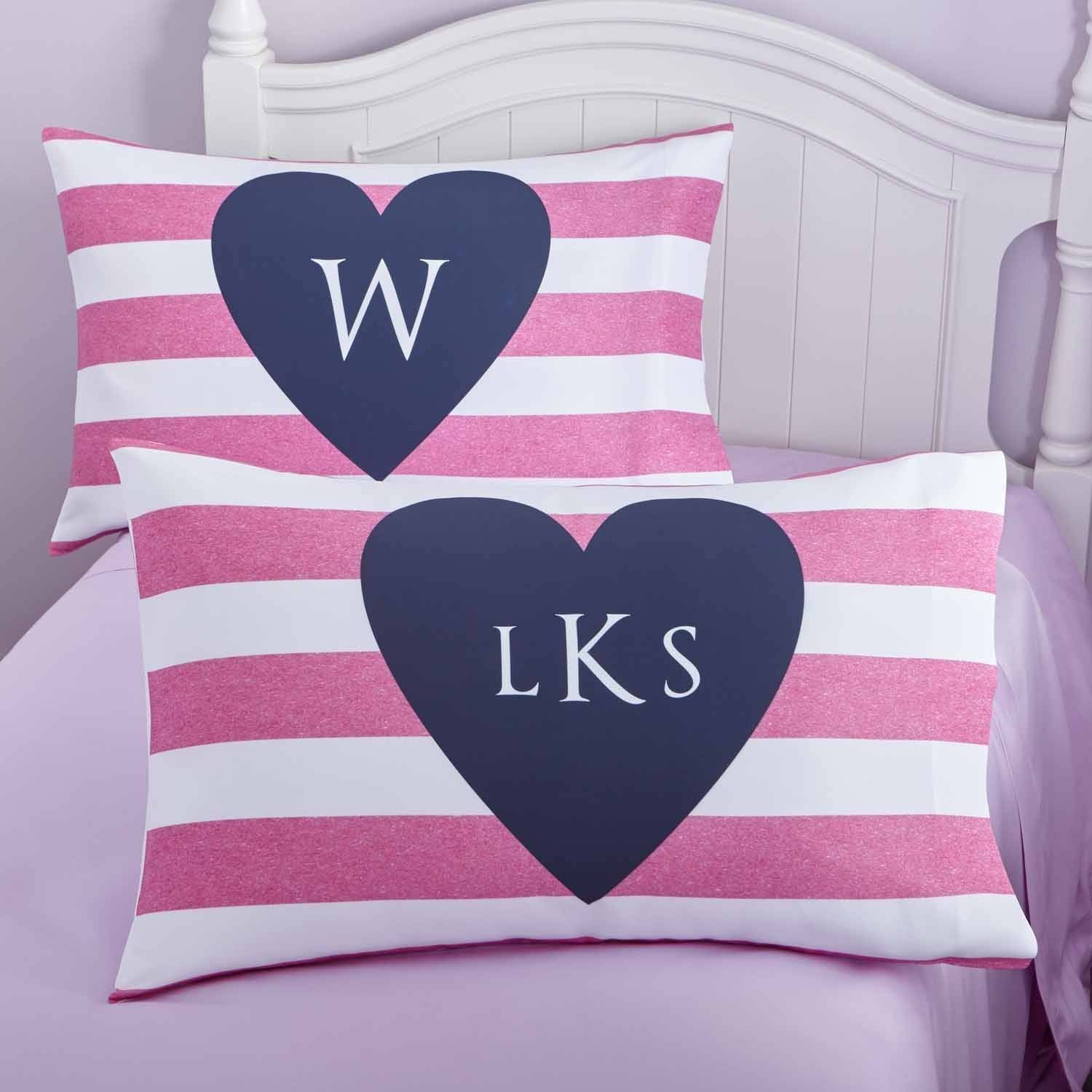 Personalized I Heart Stripes Pillowcase, Monogram