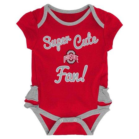 Ohio State University Buckeyes Creeper, Bib and Bootie Set Infant Set