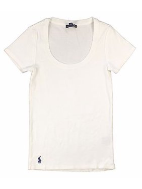 59251626 Product Image Ralph Lauren Polo Womens Ribbed Scoop Neck Shirt Pony Logo  Solid Navy/Blue/White