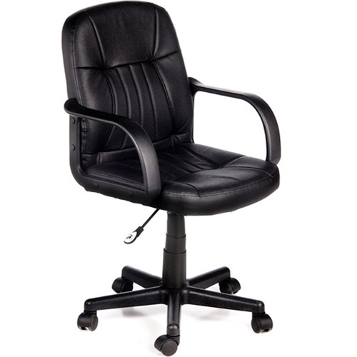 Comfort Products 60-5607M Leather Mid-Back Chair, Black
