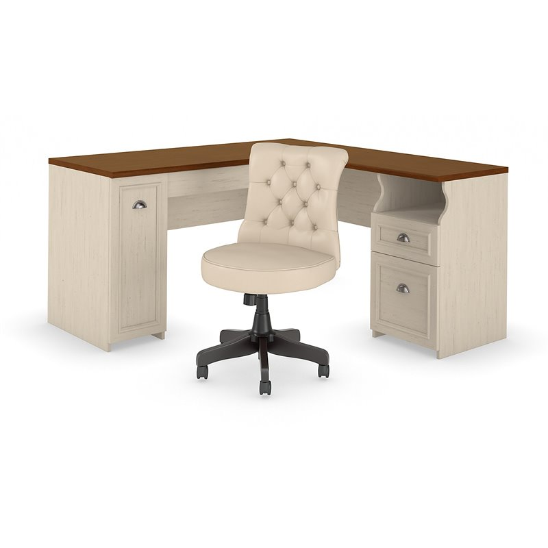 Fairview 60w L Shaped Desk And Chair Set In Antique White Engineered Wood Walmart Canada