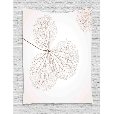 Flower Tapestry, Abstract Cotton Floral Design with Veins Natural Botanic Plants Image Artwork, Wall Hanging for Bedroom Living Room Dorm Decor, White and Brown, by - Cotton Floral Wall Hanging