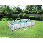 "Bestway Power Steel 18' x 9' x 48"" Rectangular Frame Swimming Pool Set with Pump, Ladder and Cover"
