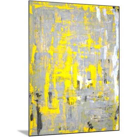 Grey And Yellow Abstract Art Painting Wood Mounted Print Wall Art By T30gallery