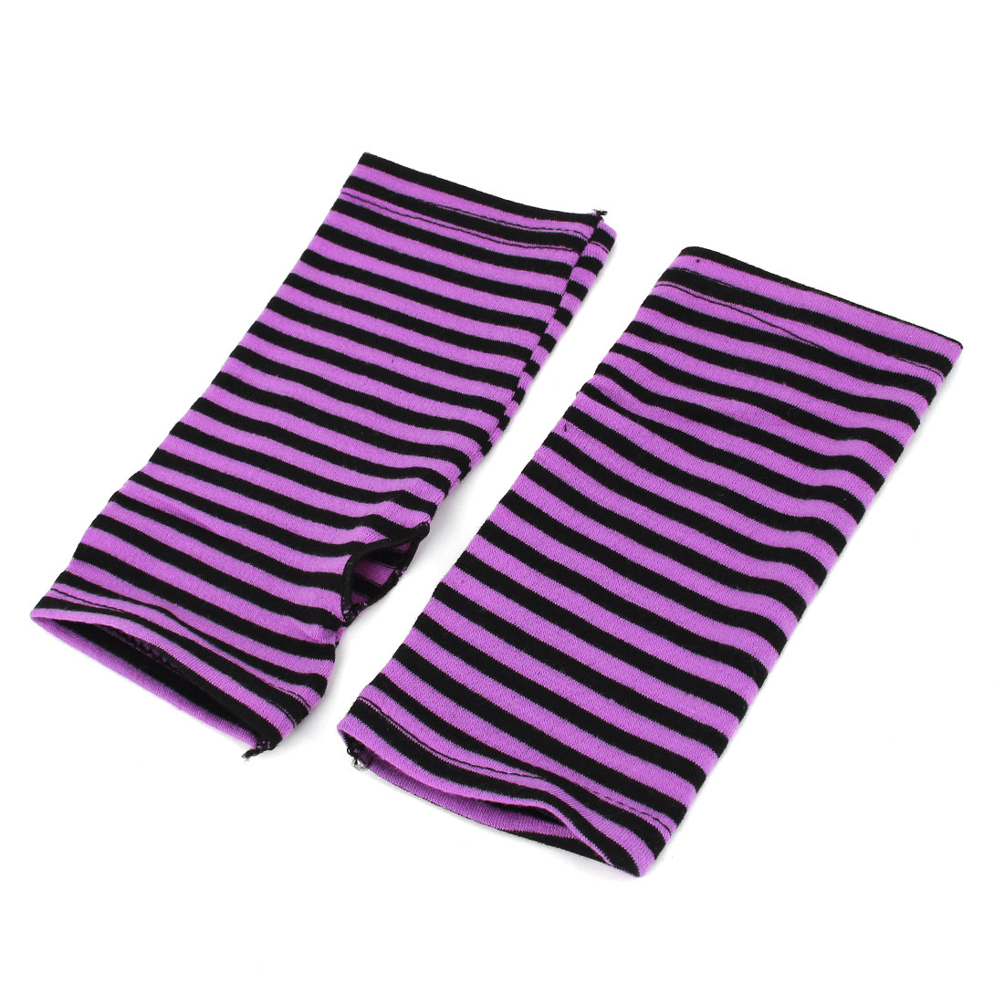 Women's Stripe Pattern Fingerless Design Fall Wear Arm Warmers Gloves Pair Purple