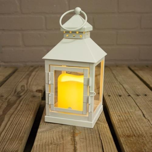 Metal Lantern with Flameless LED Candle, 9 inch, Timer, Battery, White