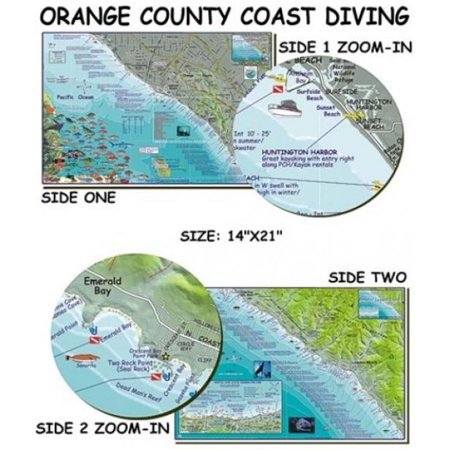 Franko Maps Orange County Coast Diving Map for Scuba Divers and Snorkelers