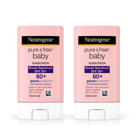 (2 Pack) Neutrogena Pure & Free Baby Mineral Sunscreen Stick, SPF 60, 0.47 oz