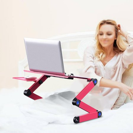 VBESTLIFE 360° Adjustable Foldable Laptop Desk Table Stand Holder w/ Cooling Dual Fan Mouse Boad Adjustable Laptop