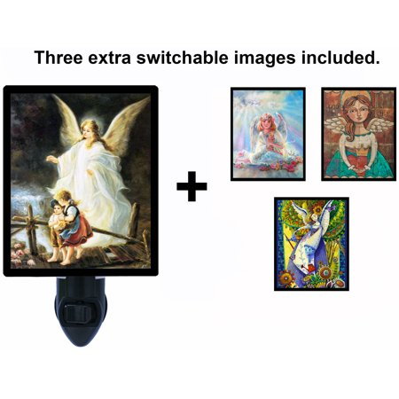 Night Light - Switchable Photos Included - Angels - Guardian Angel Over Bridge -  Religious