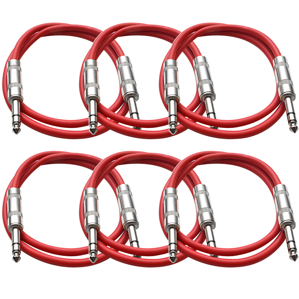 """Seismic Audio  New 6 PACK Red 1/4"""" TRS 2' Patch Cables Red - SATRX-2Red6"""