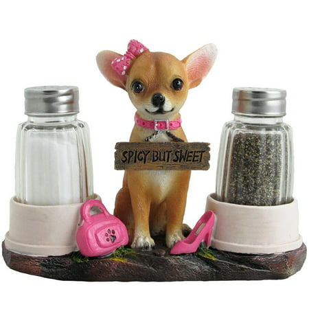 Pretty in Pink Female Chihuahua Puppy Salt and Pepper Shaker Set with Dog Food Bowls As Holders for Decorative Kitchen Table Decor by Home 'n (Salt Pepper Bowls)