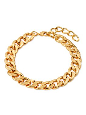"""Scoop Brass Yellow Gold-Plated Curb Chain Bracelet, 7.75 + 2"""" Extender"""