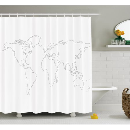Map shower curtain simplistic design world map outline with thin map shower curtain simplistic design world map outline with thin black line drawing abstract continents gumiabroncs Gallery