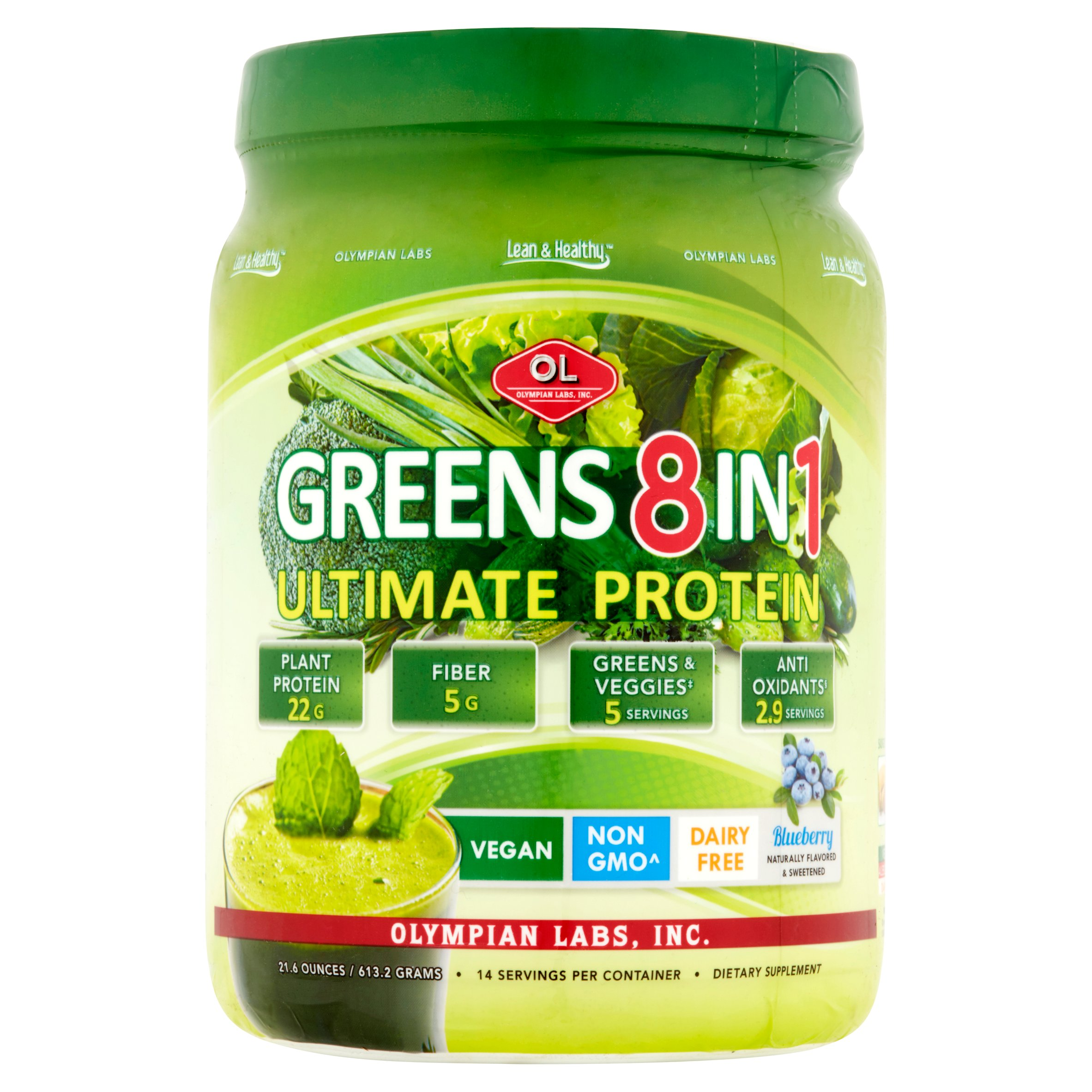 Olympian Labs Greens 8 in 1 Vegan Protein Powder, Blueberry, 22g Protein, 1.4 Lb