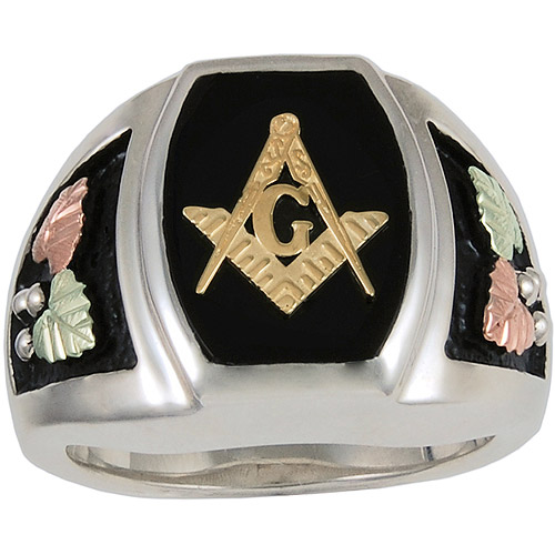Black Hills Gold Men's Black Onyx Sterling Silver 10kt and 12kt Gold Accented Masonic Emblem Ring