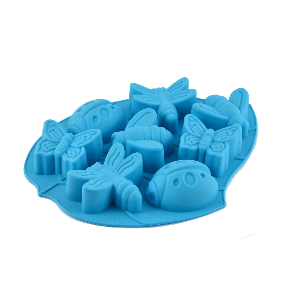 Silicone 8-Cavity Insects Shape Biscuit Pudding Cake Baking Cookie Mold Blue