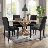 Walnew Set of 4 Urban Style PU Leather Dining Chairs with Wood Legs