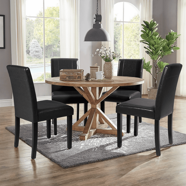 Walnew Set of 4 Urban Style PU Leather Dining Chairs with Wood Legs, Black