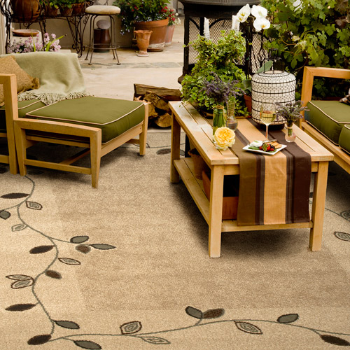 "Outdoor Garden Area Indoor/Outdoor Rug 6' 5"" x 9' 8"", Tan Leaf"