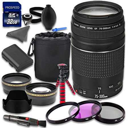 Canon EOS Rebel 70D 80D 6D 7D 7D Mark II 5DS 5DS R 5D Mark III DSLR Camera  Accessories Kit with Canon EF 75-300mm f/4-5 6 III Lens + 2 2x Telephoto