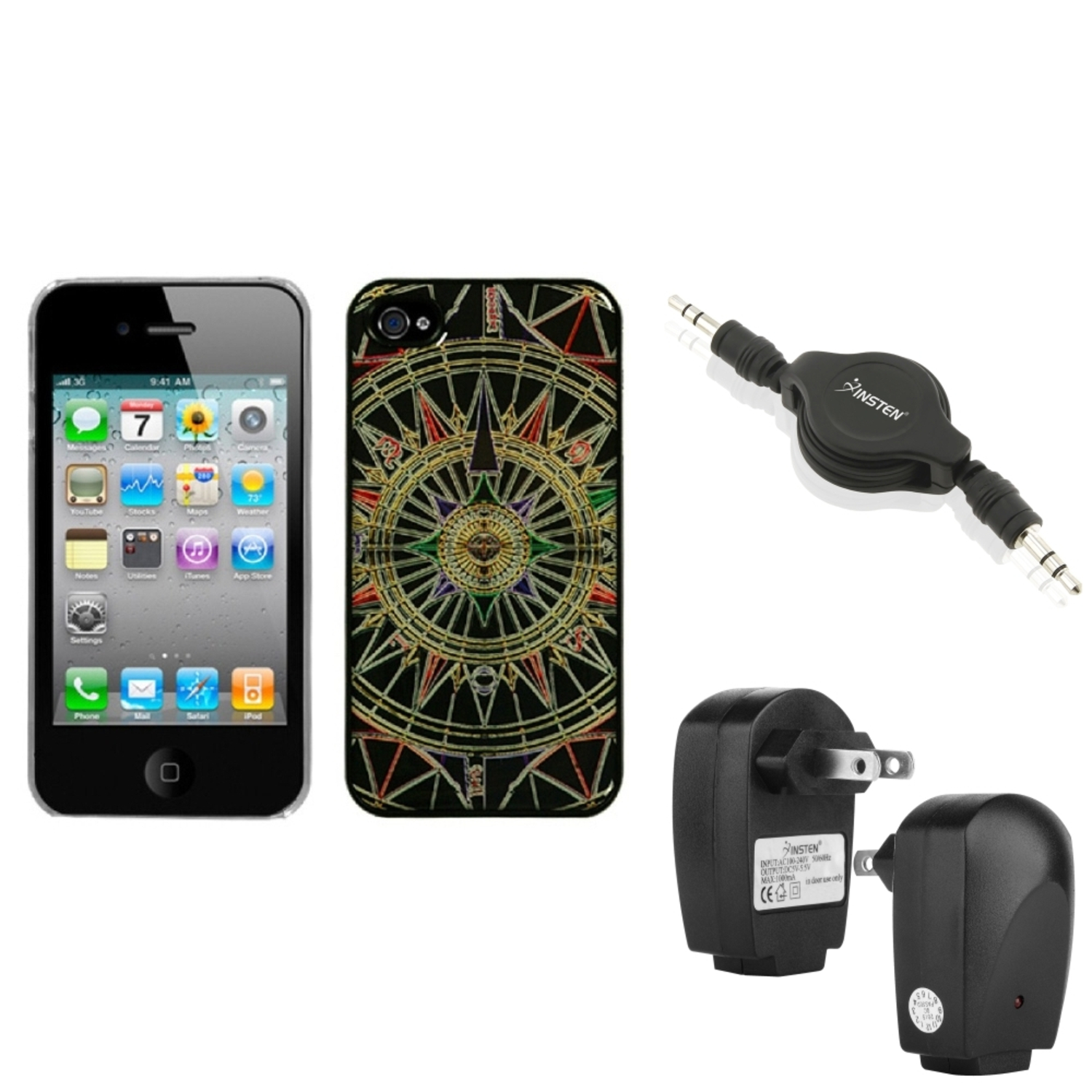 Insten Wall Charger Audio Cable Star Compass Dream Back Case Cover For iPhone 4S/4