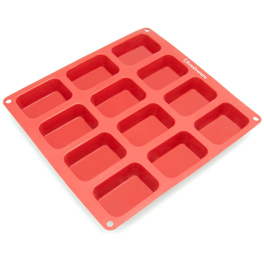 Freshware 12-Cavity Petite Loaf Silicone Mold for Muffin, Soap, Cake, Brownie, Cornbread, Cheesecake and Pudding, CB-105RD