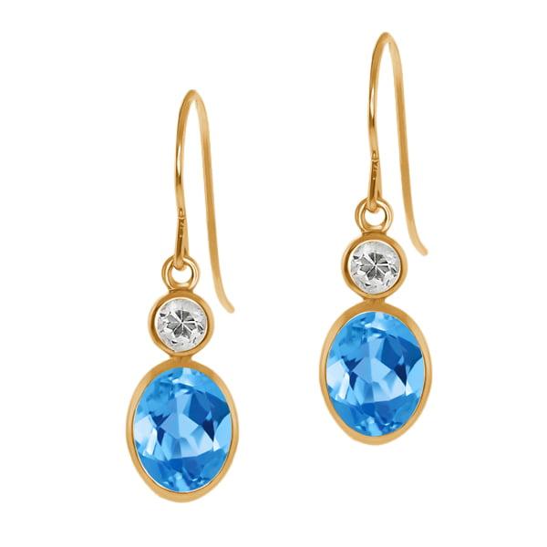 1.88 Ct Oval Swiss Blue Topaz White Topaz 14K Yellow Gold Earrings