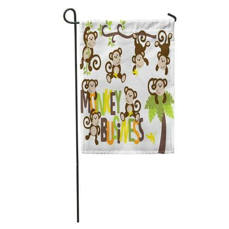 NUDECOR Tree Monkey Banana Branch Boy Vine Hanging Palm Swinging Garden Flag Decorative Flag House Banner 12x18 inch - image 2 of 2