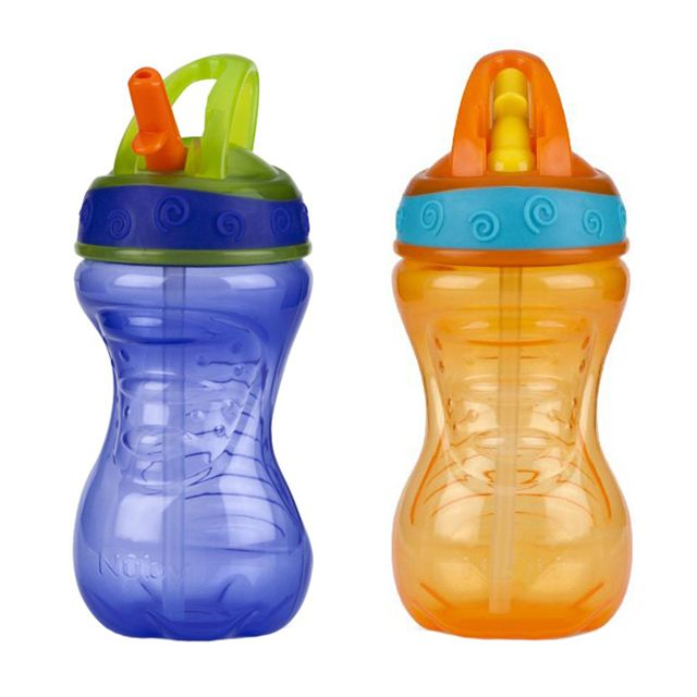 Nuby 10 Ounce Flip-And-Tip Hard Straw Cup - 2 Pack (Purple/Orange)