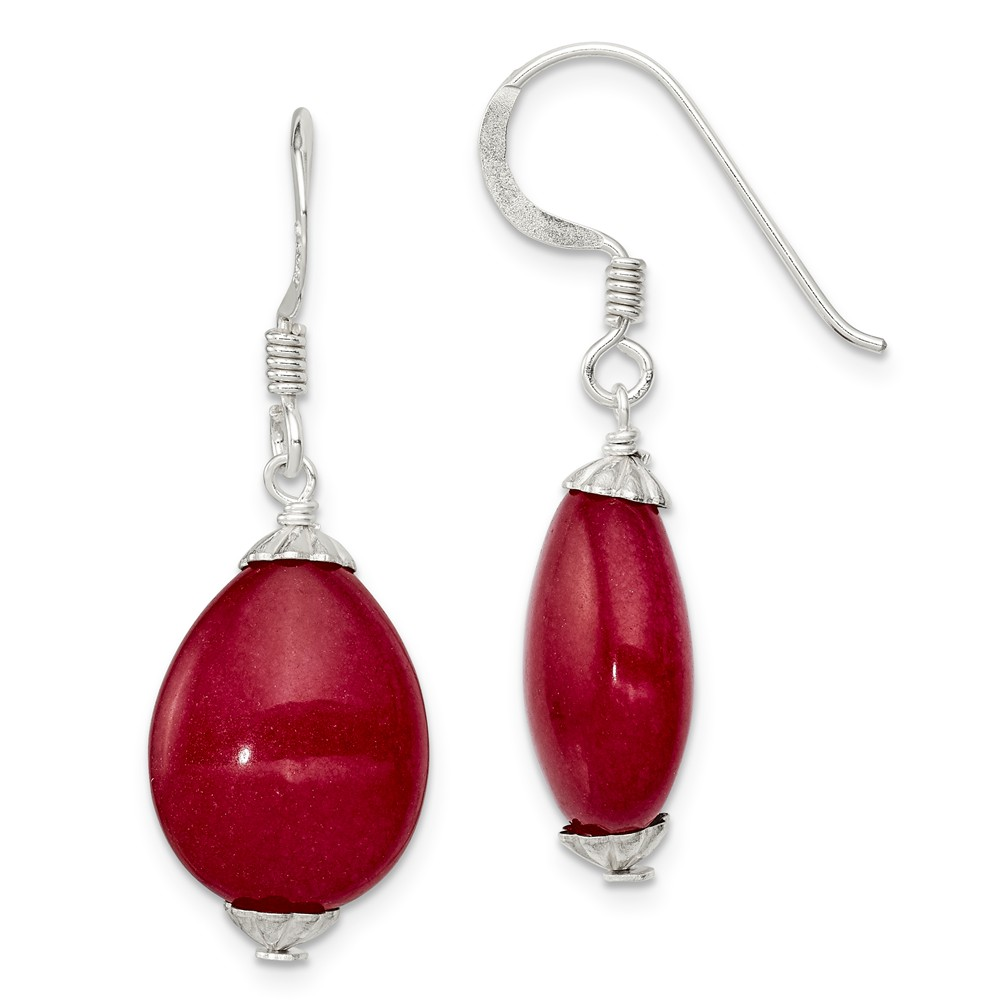 Sterling Silver Red Agate Earrings (1.2IN x 0.4IN )