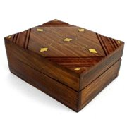 Global Crafts Handcrafted Sheesham Wood and Inlaid Brass Box (India)
