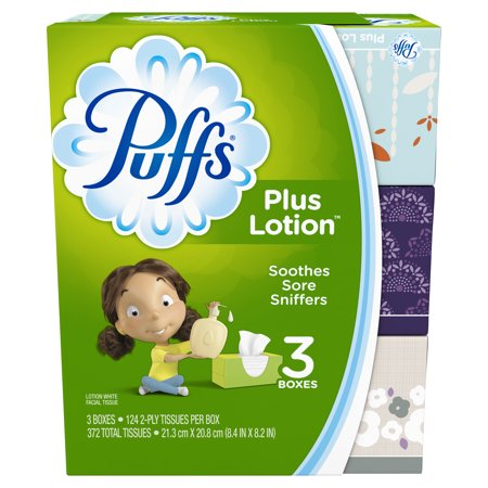 - Puffs Plus Lotion Facial Tissues, 3 Family Boxes, 124 Tissues per Box
