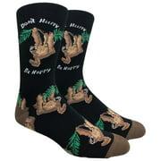 Men's Fun Novelty Print Dress Socks - Sloth Black