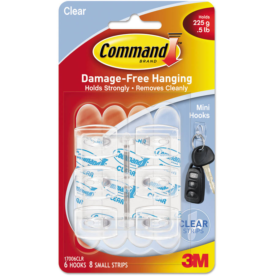 Command Clear Hooks and Strips, Plastic, Mini, 6 Hooks with 8 Adhesive Strips per Pack