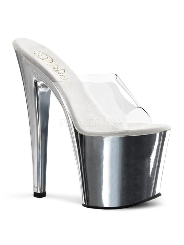 "TAB701/C/SCH Pleaser Platforms Exotic Dancing 7""-7 1/2"" Heel Shoes CLEAR Size:5"