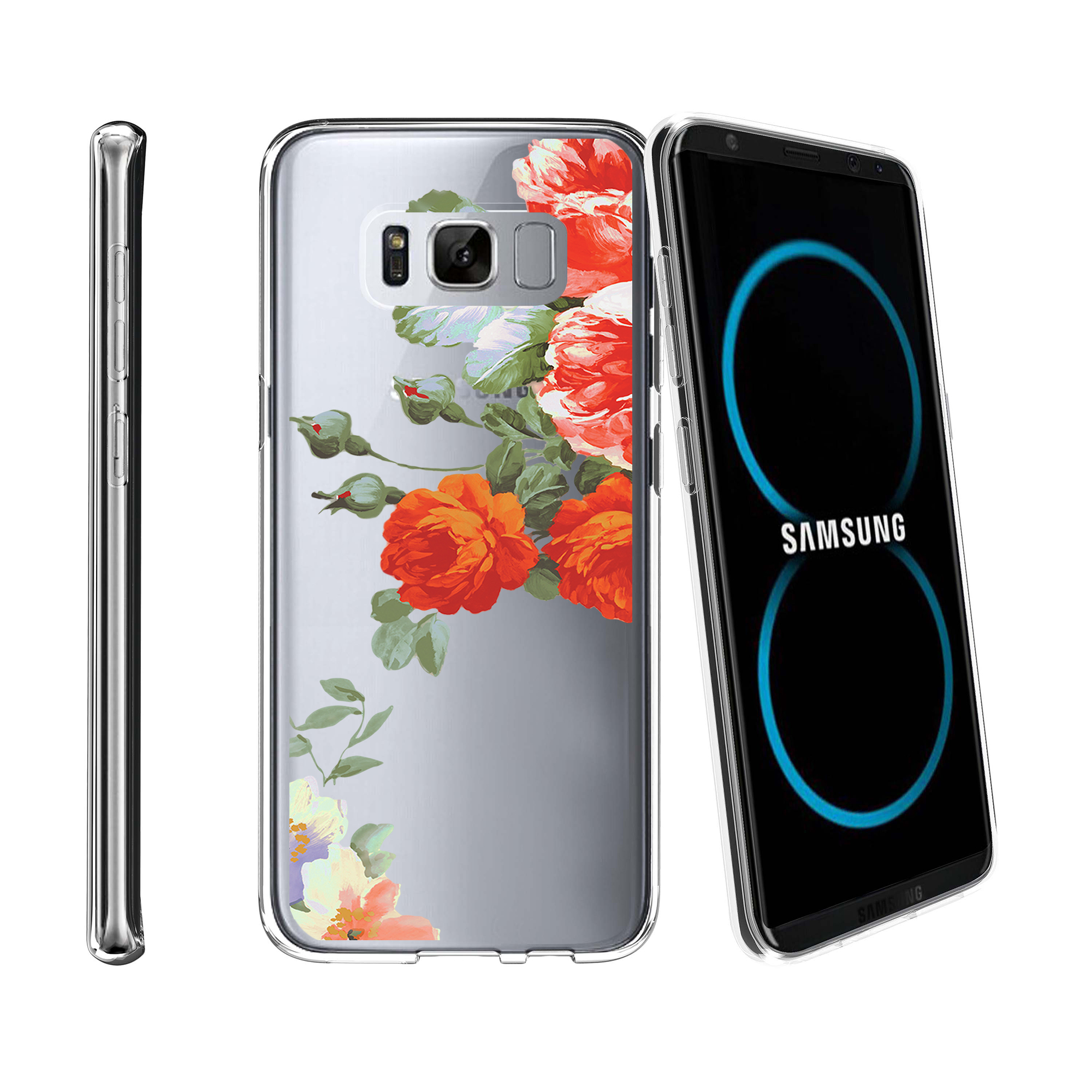 Case for Samsung Galaxy S8 Plus | Galaxy S8 Plus Transparent Silicone Case [ Flex Force ] Flexible Clear Case Flower Collection