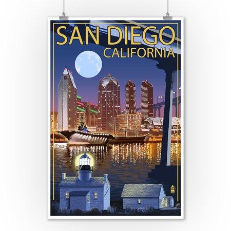 San Diego, California - Skyline at Night - Lantern Press Artwork (9x12 Art Print, Wall Decor Travel Poster) - Metro Decor San Diego