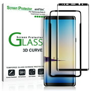 Galaxy Note 8 Screen Protector Glass - amFilm Full Cover (3D Curved) Tempered Glass Screen Protector with Dot Matrix for Samsung Galaxy Note 8 (Black)