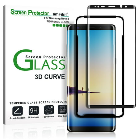 Galaxy Note 8 Screen Protector Glass - amFilm Full Cover (3D Curved) Tempered Glass Screen Protector with Dot Matrix for Samsung Galaxy Note 8 (Black) ()