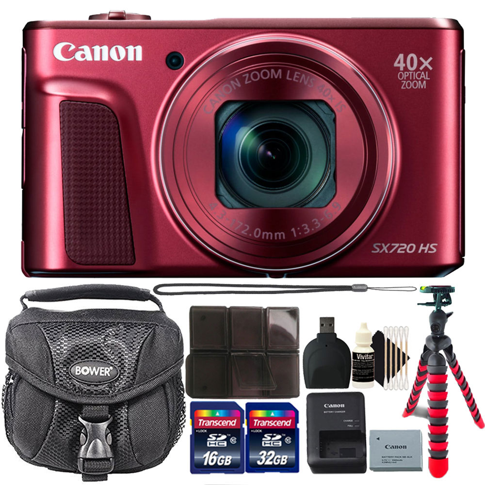 Canon PowerShot SX720 HS 20.3MP 40X Zoom Built-In Wifi / NFC Full HD 1080p Point and Shoot Digital Camera Red with 48GB Accessory Kit