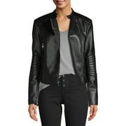 Kendall + Kylie Women's Faux-Leather Asymmetrical Zip Jacket