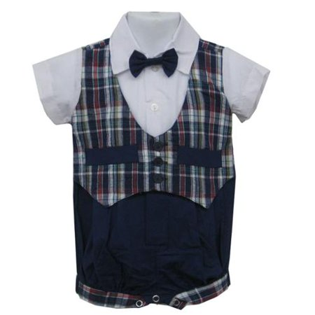 Baby Boys Blue Plaid Bowtie Short Sleeve One-piece Bodysuit 3-9M](Plaid Onesie)