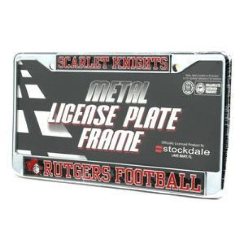 Rutgers Scarlet Knights Silver License Plate Frame W/domed Insert - Black Background