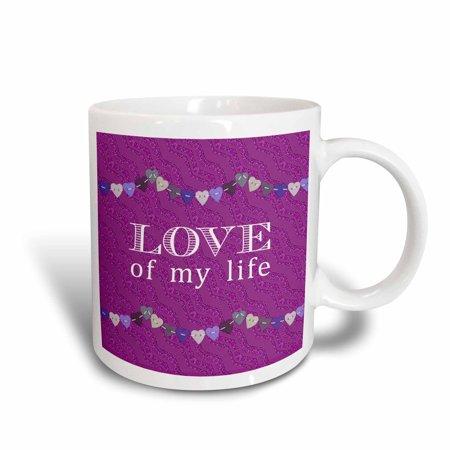 3dRose Love of my Life Pink, Purple, Green, Tan Hearts on Plum Purple Glitter Look, Ceramic Mug, 11-ounce ()