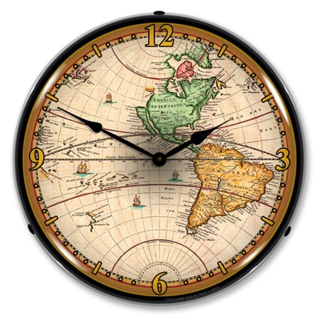 1730 World Map LED Wall Clock, Retro/Vintage, Lighted, 14 inch 1730 Series 1 Light