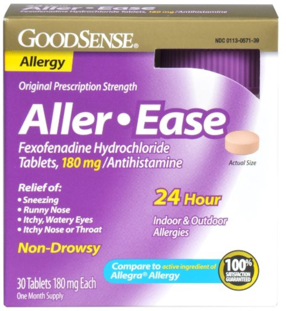Good Sense Aller-Ease Fexofenadine Hydrochloride Tablets, 180 mg 30 ea (Pack of 4)