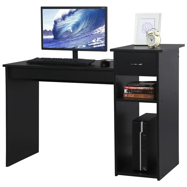 Compact Computer Desk with Drawers and 2 Tier Storage Shelves