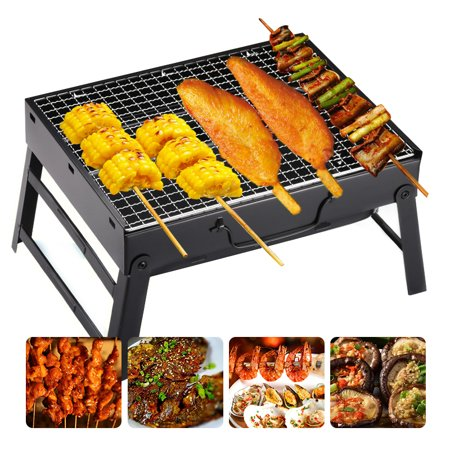 Foldable BBQ Charcoal Grill Portable BBQ Tools for Outdoor Cooking Camping Hiking Picnics Tailgating Backpacking (Small)