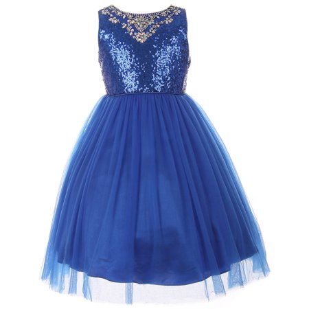 Dreamer P - Big Girls' Dress Sparkle Sequin Tulle Holiday Pageant Party Flower Girl Dress Royal Size 12 (C50C58C) - Walmart.com